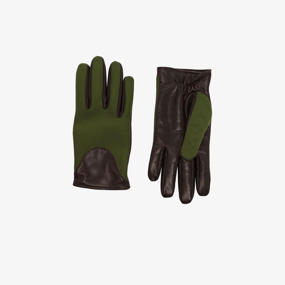 カガワグローブ Kagawa Gloves メンズ 手袋・グローブ 【green and black leather and neoprene gloves】green