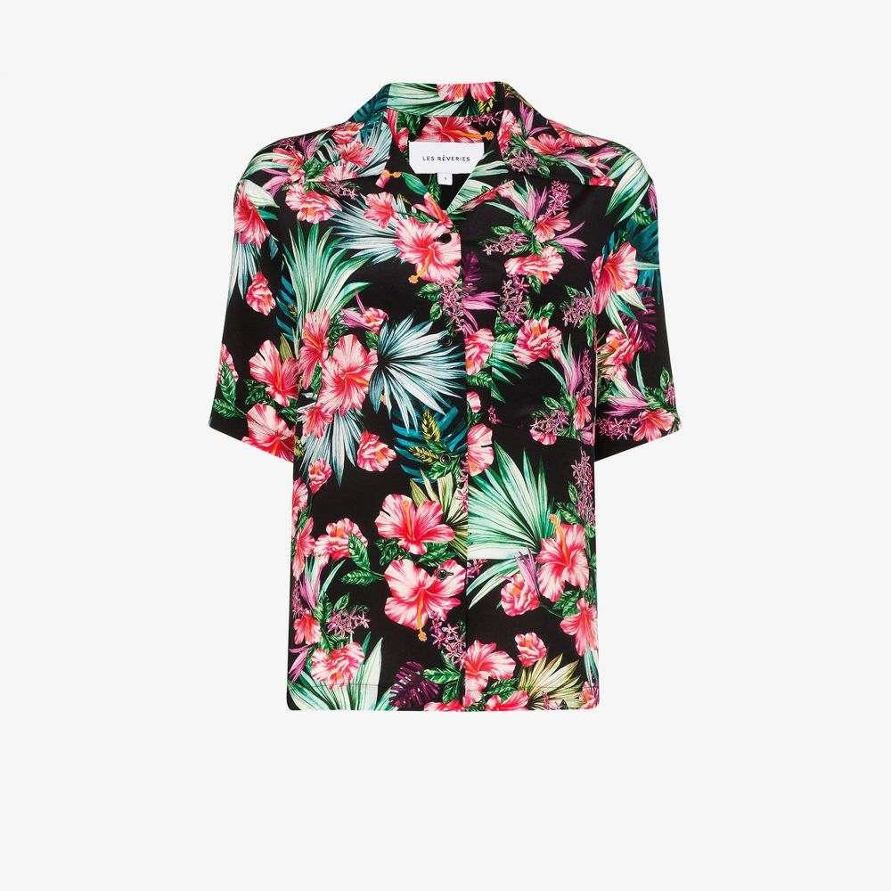 レ レヴェリズ Les Reveries レディース ブラウス・シャツ トップス【Tropical flower print silk shirt】black