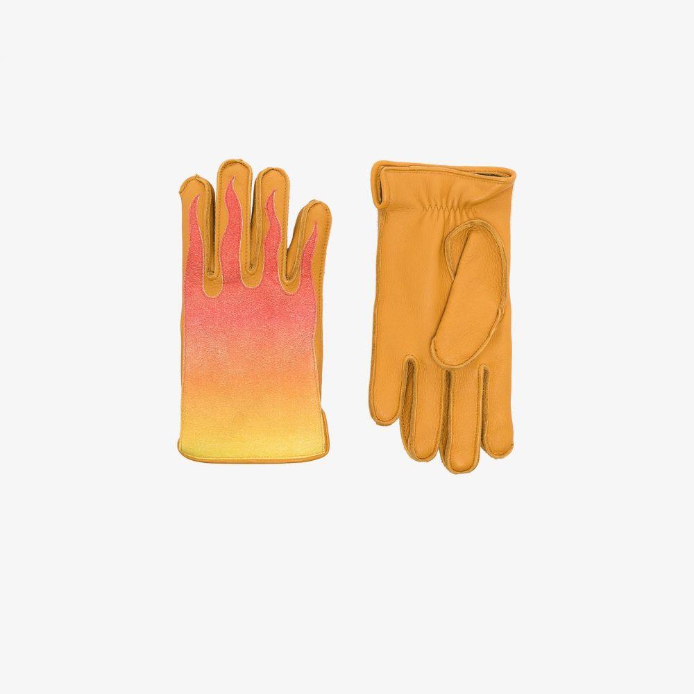 カガワグローブ Kagawa Gloves メンズ 手袋・グローブ 【yellow and red flame leather gloves】
