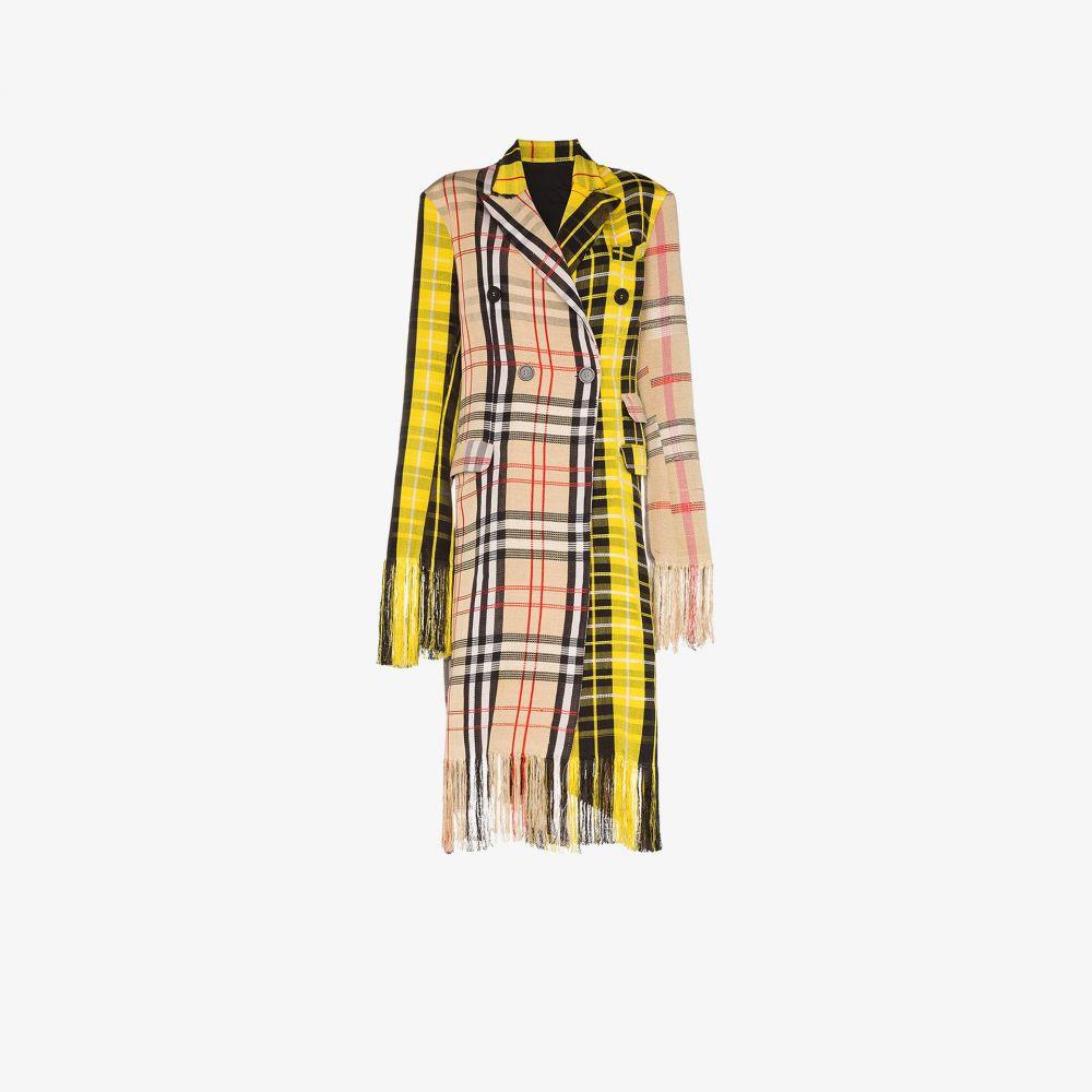 ケネス イズ Kenneth Ize レディース コート アウター【Yaba check fringed coat】yellow