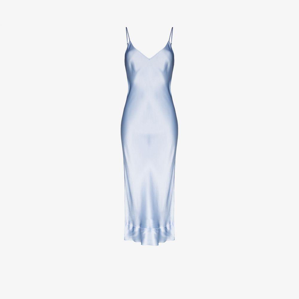 リーマシューズ Lee Mathews レディース パーティードレス スリップドレス ミドル丈 ワンピース・ドレス【Stella silk slip midi dress】blue