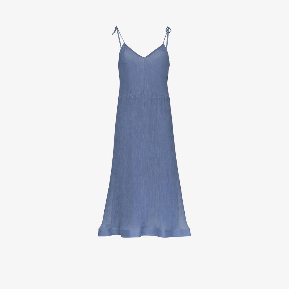 J.W.アンダーソン JW Anderson レディース ワンピース スリップドレス ワンピース・ドレス【trumpet hem pleated slip dress】blue