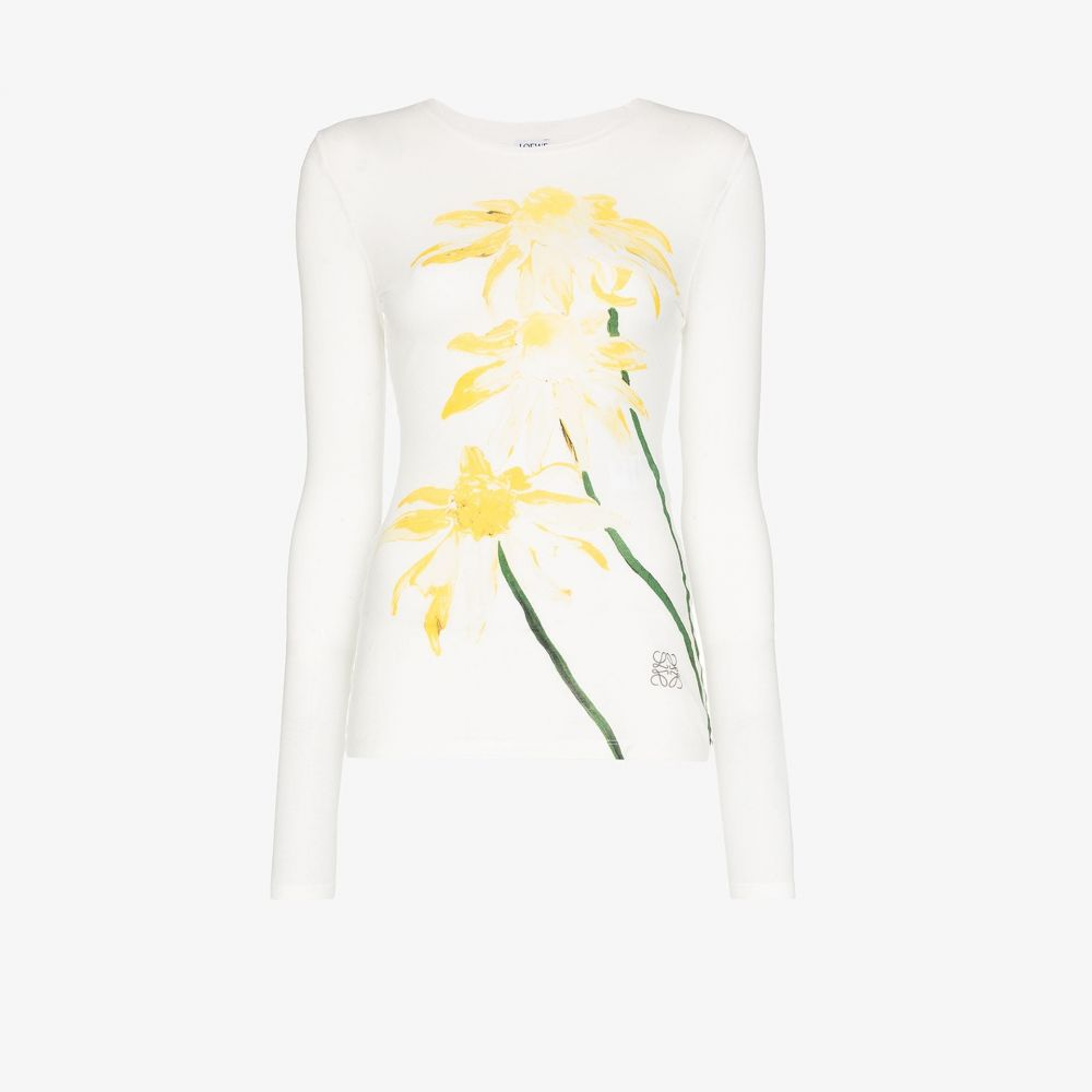ロエベ Loewe レディース 長袖Tシャツ トップス【long sleeve daisy print T-shirt】white