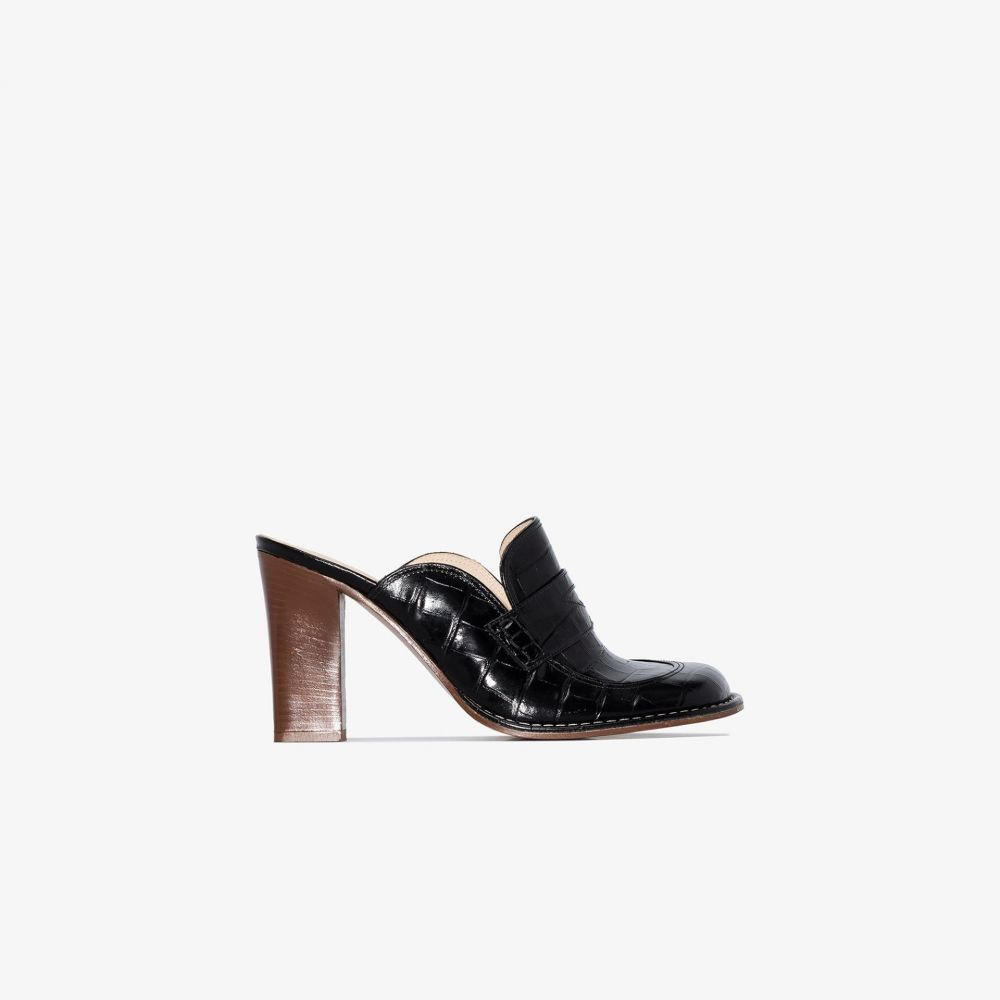 ロエベ Loewe レディース サンダル・ミュール シューズ・靴【black 90 patent mock croc leather mules】black