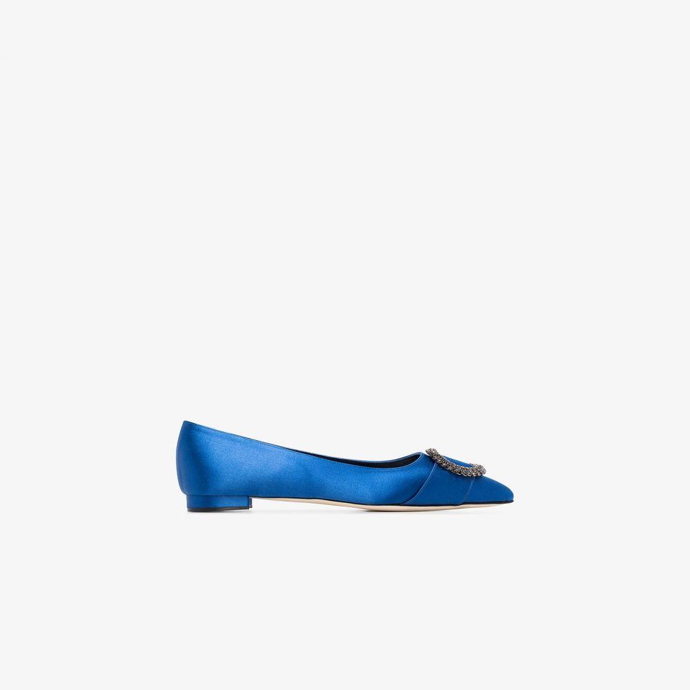 マノロブラニク Manolo Blahnik レディース パンプス シューズ・靴【blue Bikulu flat satin pumps】blue