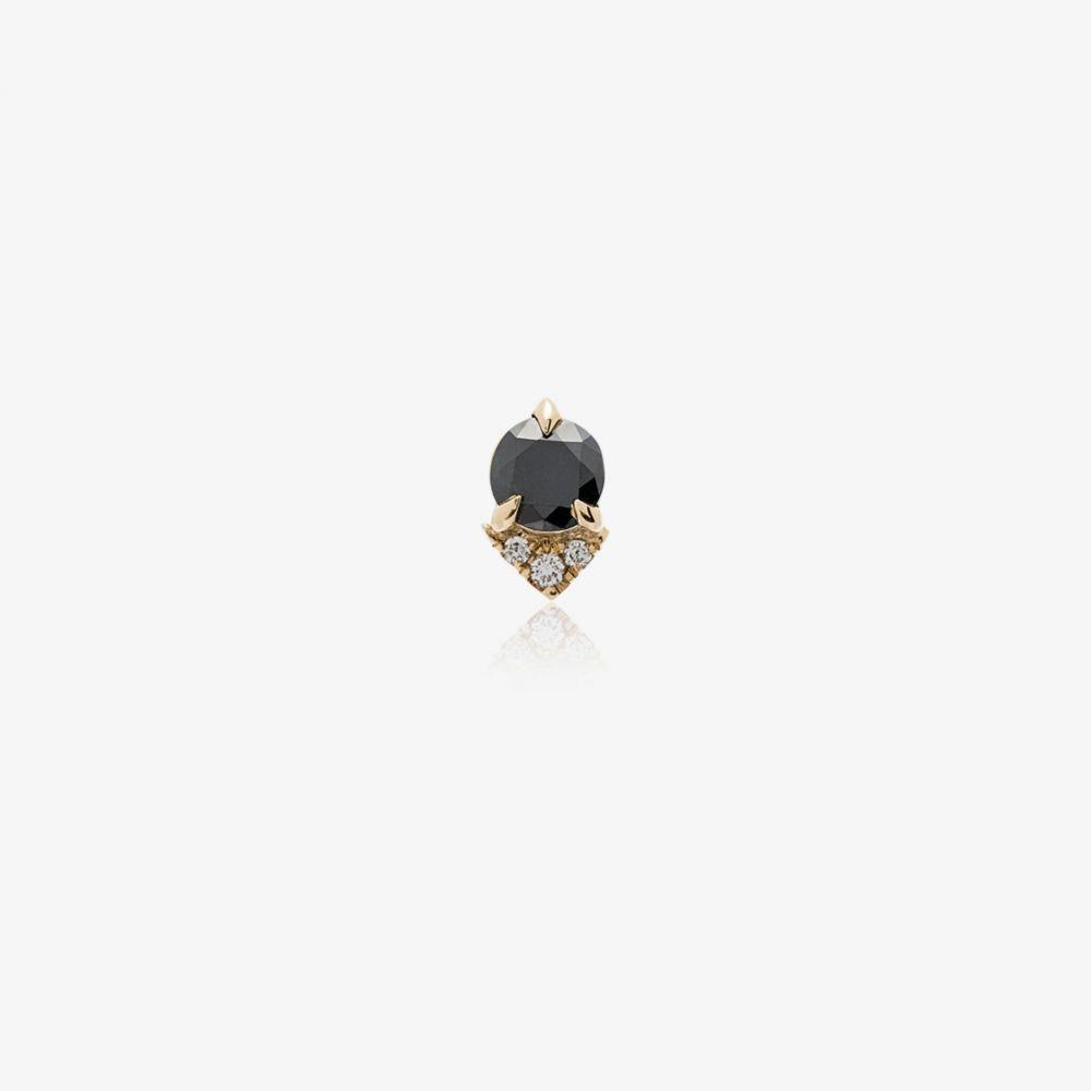 リジー マンドラー ファイン ジュエリー Lizzie Mandler Fine Jewelry レディース イヤリング・ピアス ジュエリー・アクセサリー【Spike stud black diamond and diamond 18K yellow gold single earring】gold