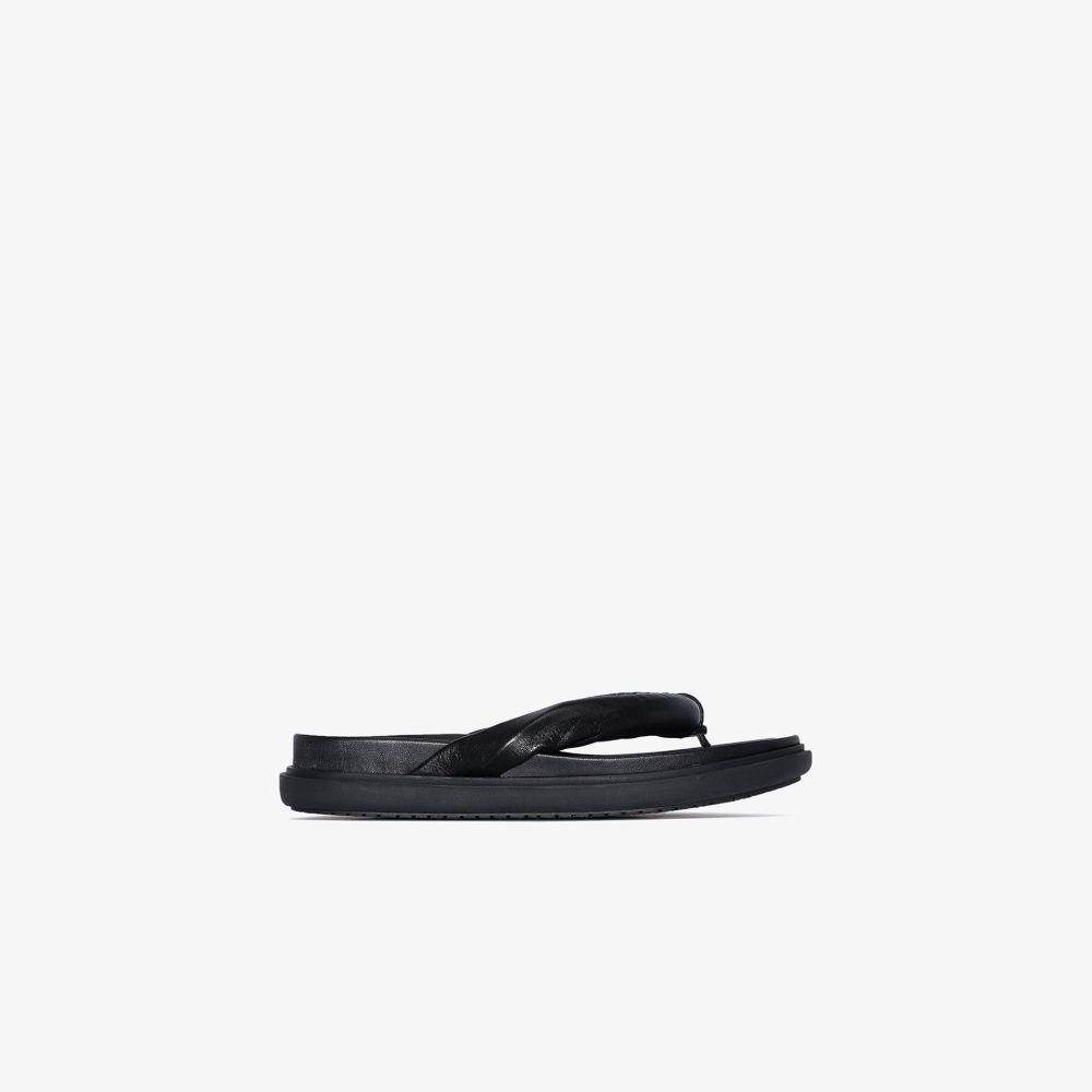 LVIR レディース ビーチサンダル シューズ・靴【Black Robe leather flip flop sandals】black