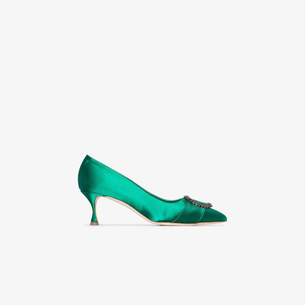 マノロブラニク Manolo Blahnik レディース パンプス シューズ・靴【green Bikulu 50 satin pumps】green