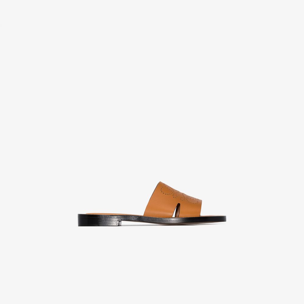 ロエベ Loewe レディース サンダル・ミュール シューズ・靴【brown perforated anagram leather sandals】brown