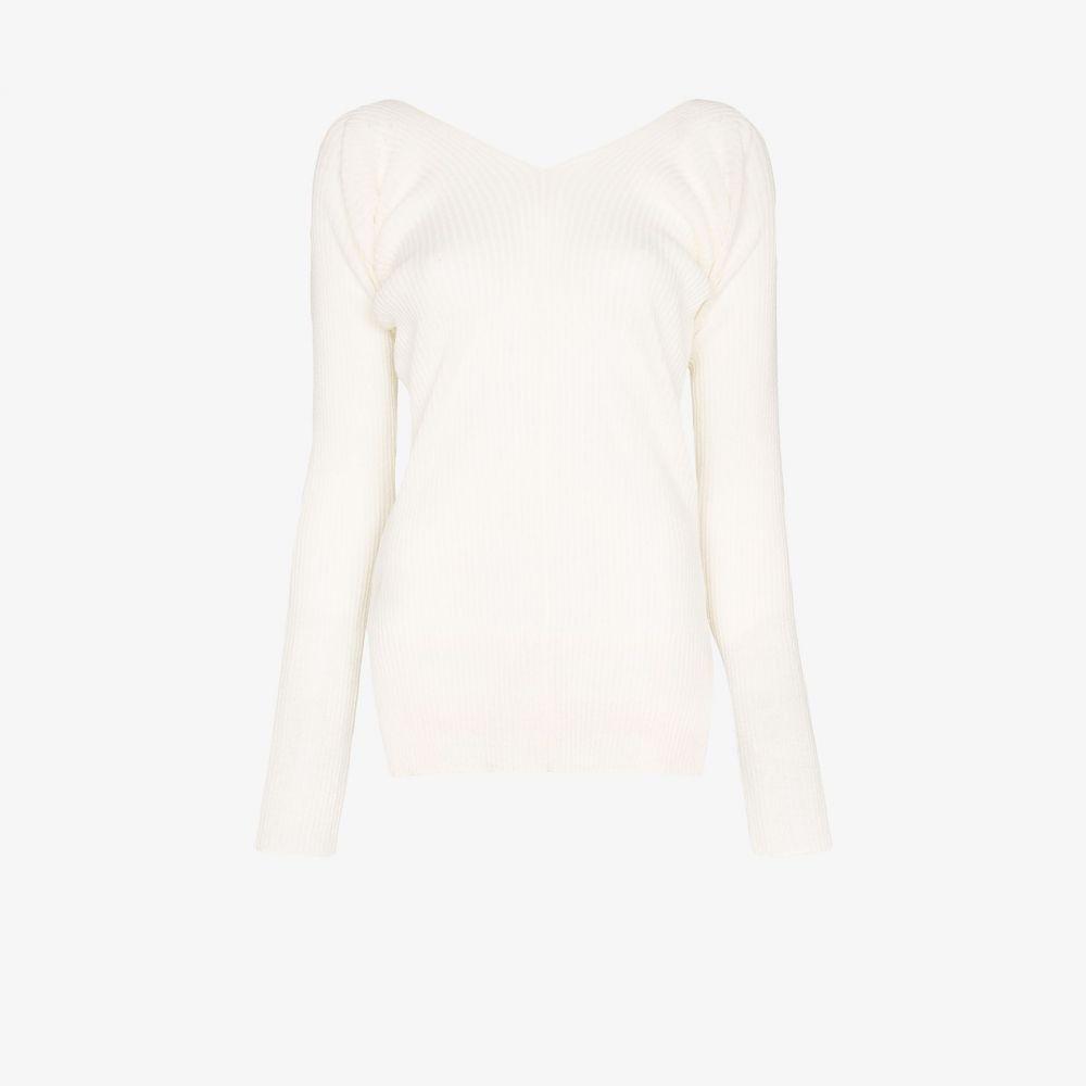ロウ クラシック Low Classic レディース ニット・セーター Vネック トップス【V-neck ribbed knit sweater】white