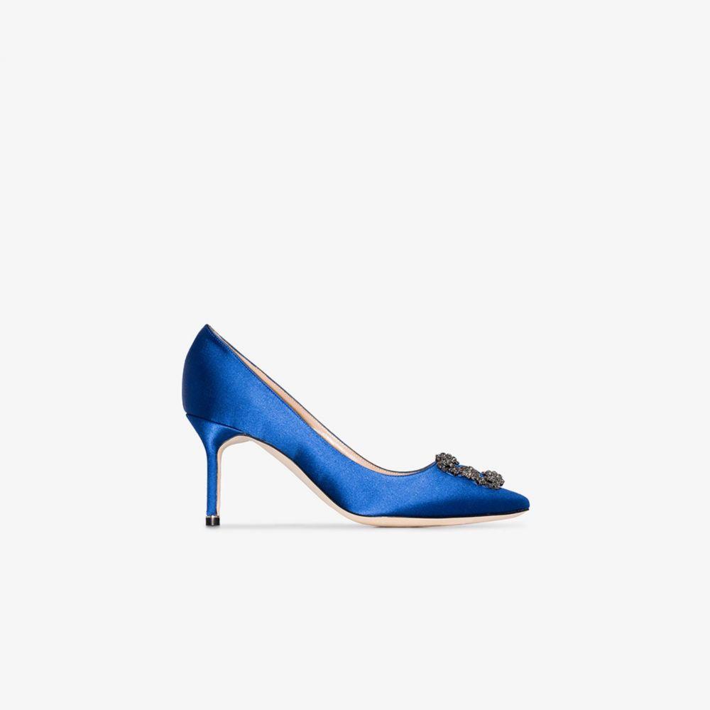 マノロブラニク Manolo Blahnik レディース パンプス シューズ・靴【blue Hangisi 70 crystal buckle satin pumps】blue