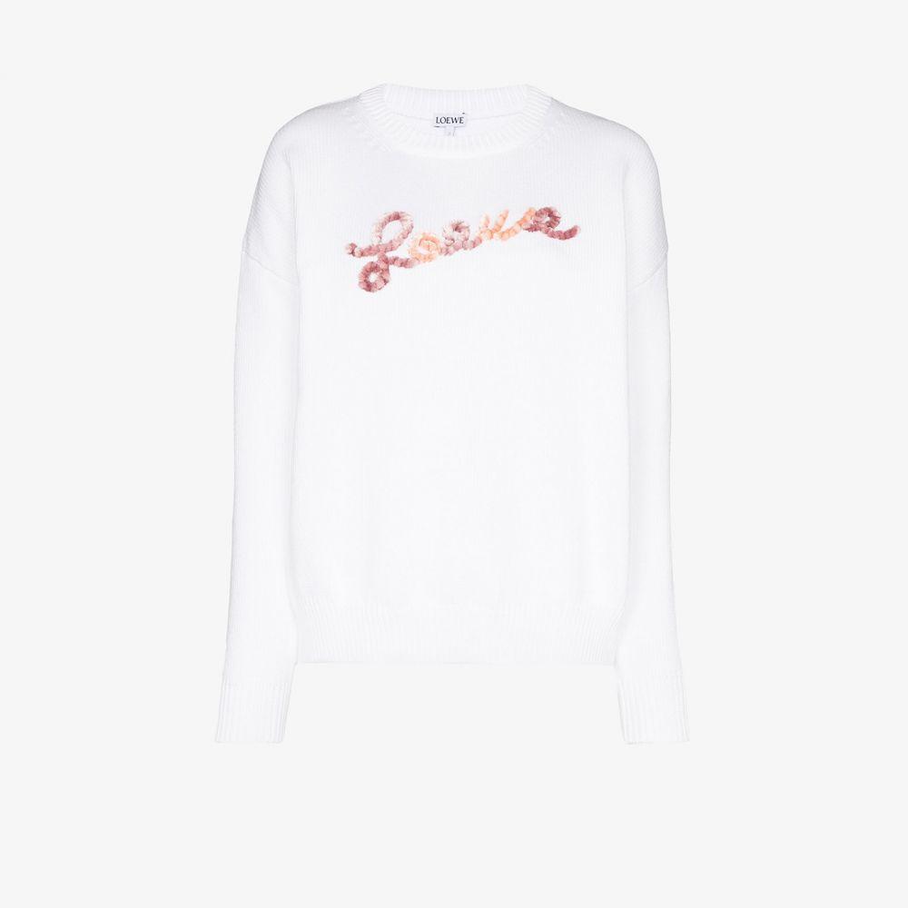 ロエベ Loewe レディース ニット・セーター トップス【Applique logo sweater】white