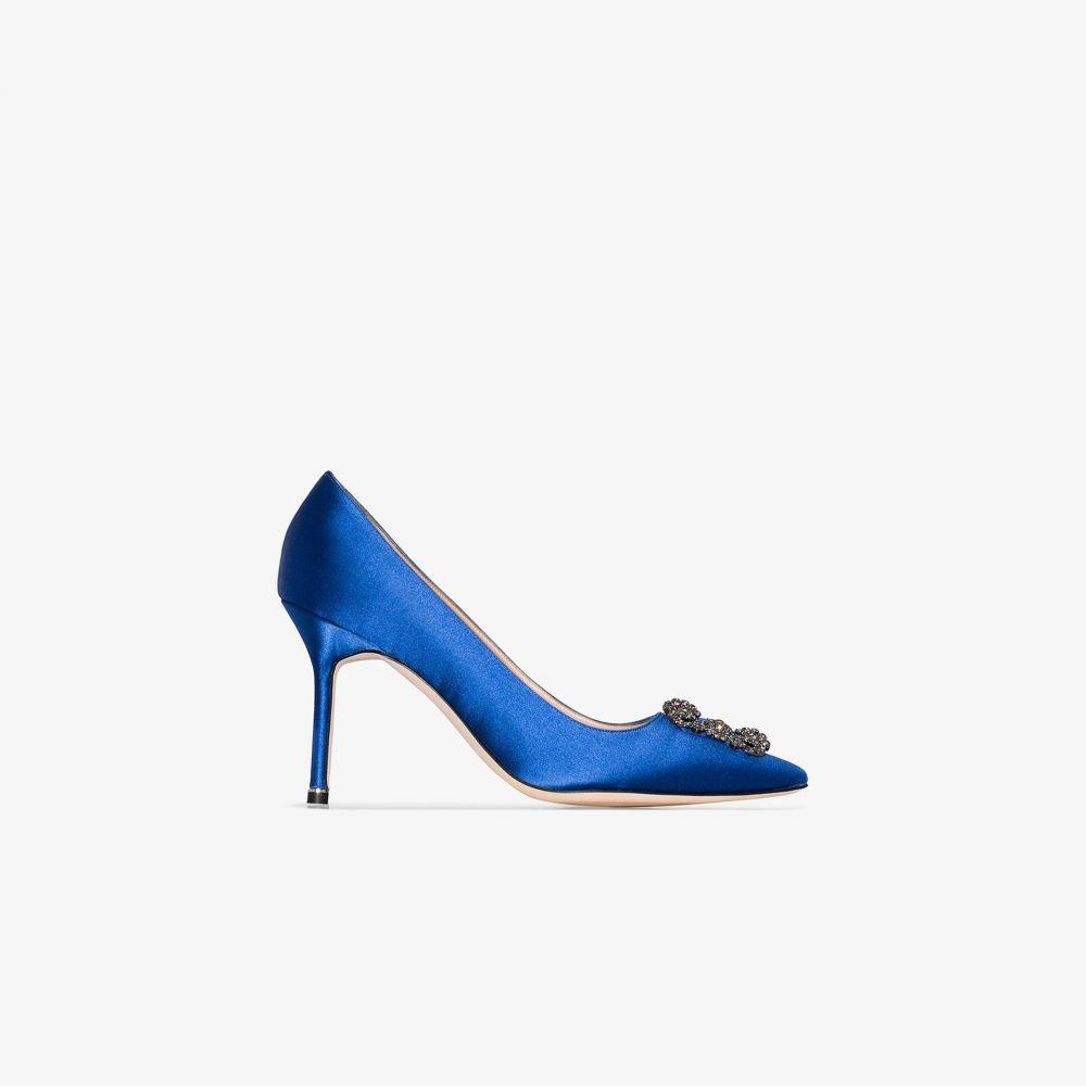 マノロブラニク Manolo Blahnik レディース パンプス シューズ・靴【blue hangisi 90 crystal buckle satin pumps】blue