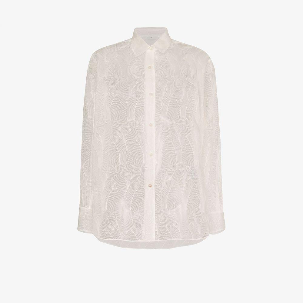 LVIR レディース ブラウス・シャツ トップス【sheer lace shirt】white