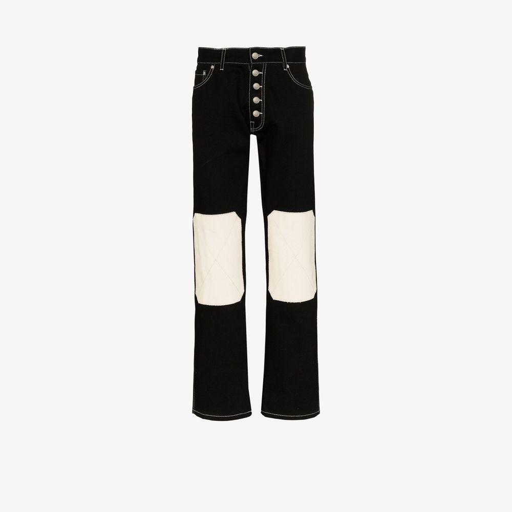 リンダー Linder メンズ ジーンズ・デニム ボトムス・パンツ【Tube knee patch straight jeans】black