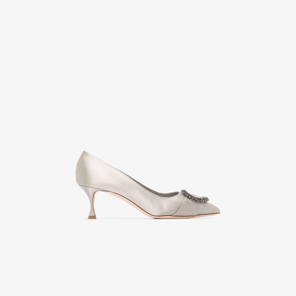 マノロブラニク Manolo Blahnik レディース パンプス シューズ・靴【grey Bikulu satin leather pumps】grey