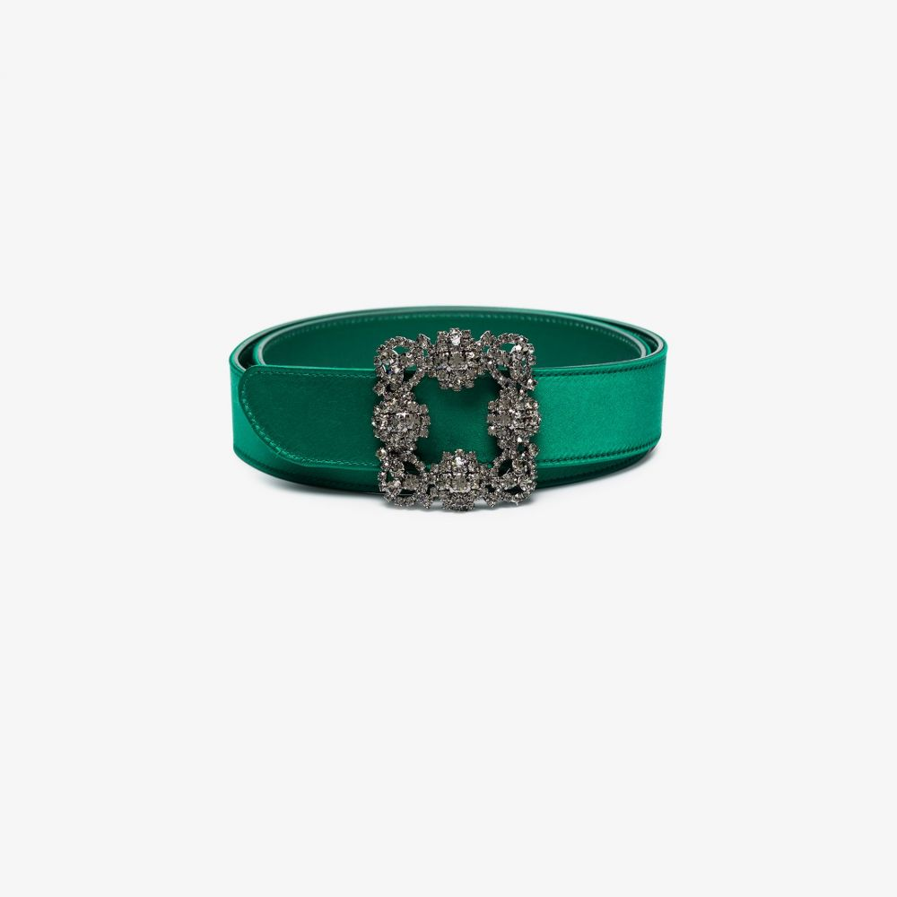 マノロブラニク Manolo Blahnik レディース ベルト 【Green Hangisi crystal buckle satin belt】green