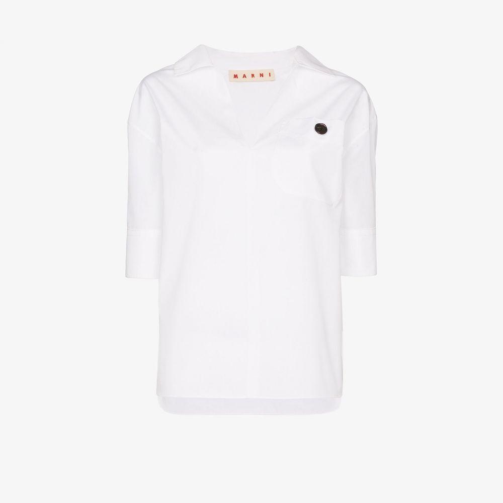 マルニ Marni レディース ブラウス・シャツ トップス【spread collar cotton blouse】white