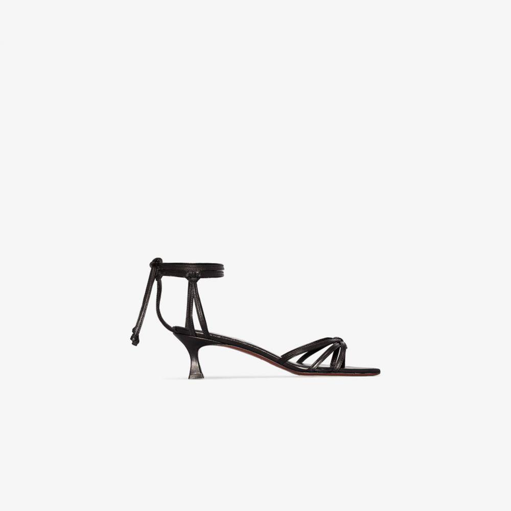 マニュ アトリエ Manu Atelier レディース サンダル・ミュール シューズ・靴【Black Lace 50 leather sandals】black