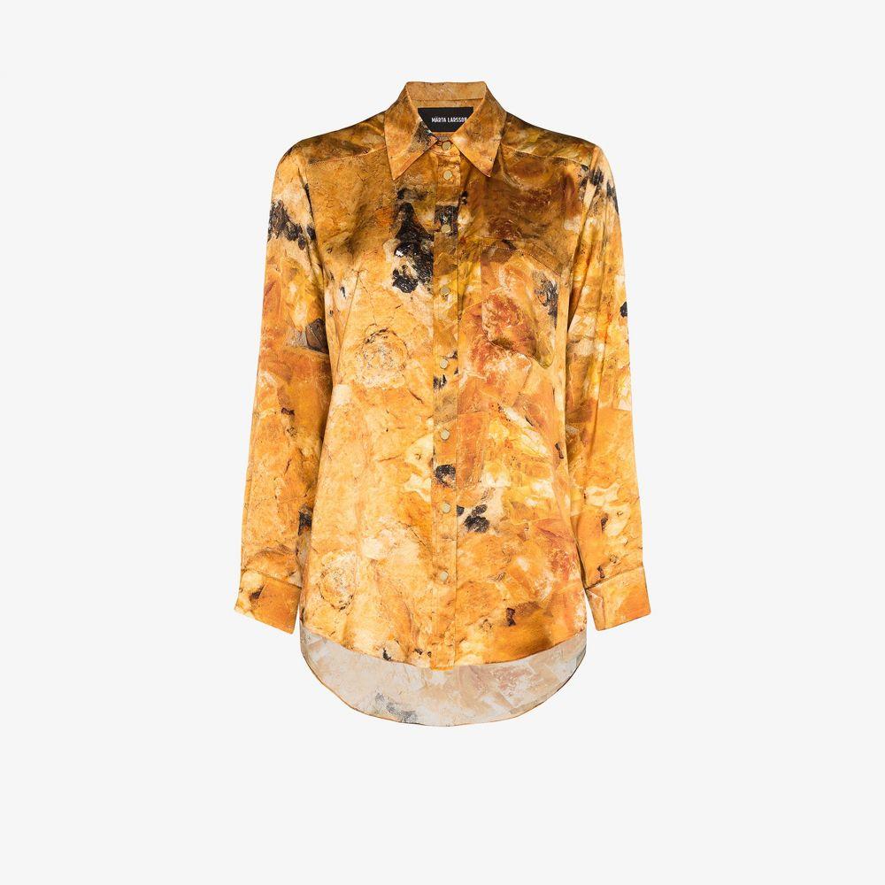 マルタ ラーソン Marta Larsson レディース ブラウス・シャツ トップス【Smith Silk Boyfriend Shirt】yellow