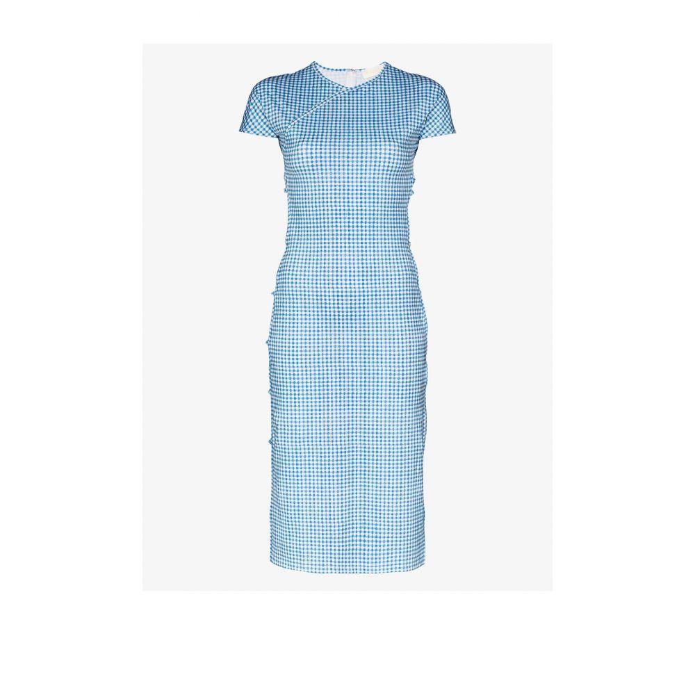 マルシア Marcia レディース パーティードレス ミドル丈 ワンピース・ドレス【Tchikiboum gingham print midi dress】blue