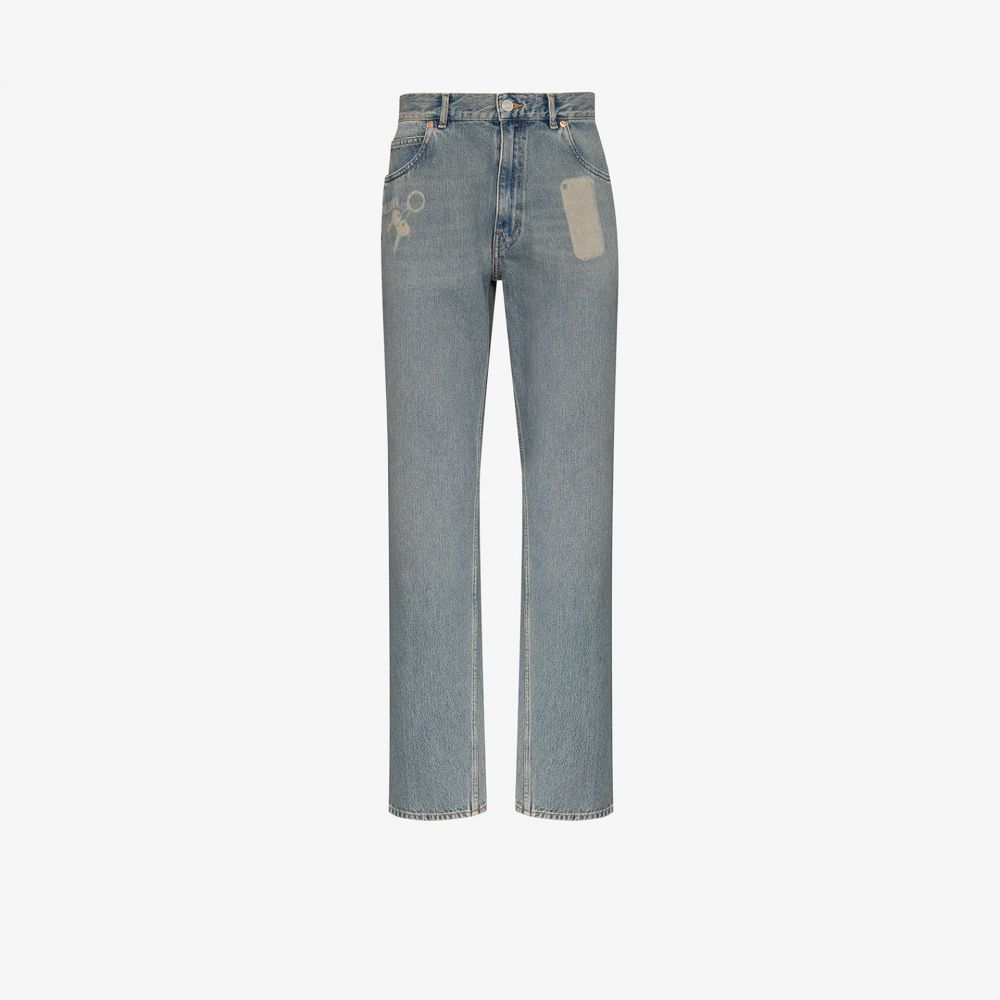 マーティン ローズ Martine Rose メンズ ジーンズ・デニム ボトムス・パンツ【pocket print straight leg jeans】blue