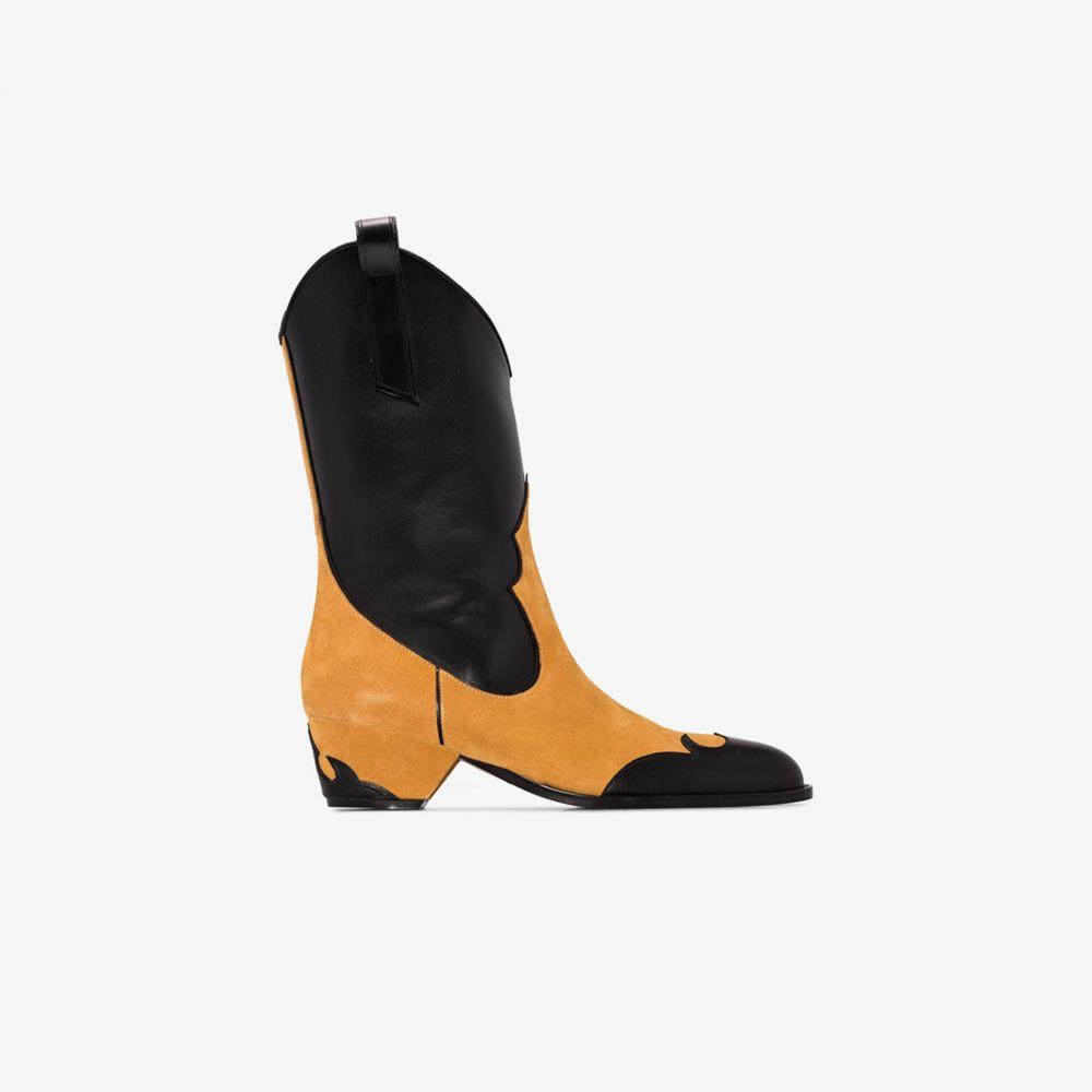 マニュ アトリエ Manu Atelier レディース ブーツ カウボーイブーツ シューズ・靴【black and orange deniz 45 panelled cowboy boots】black