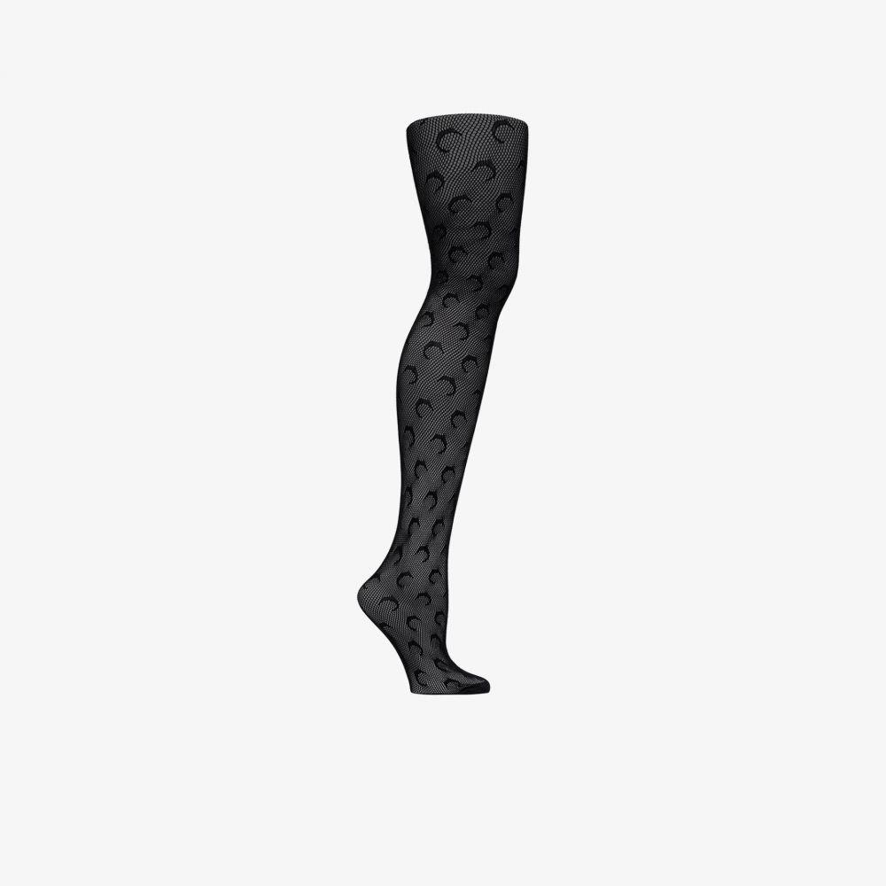マリーン セル Marine Serre レディース タイツ・ストッキング インナー・下着【black crochet jacquard moon tights】black