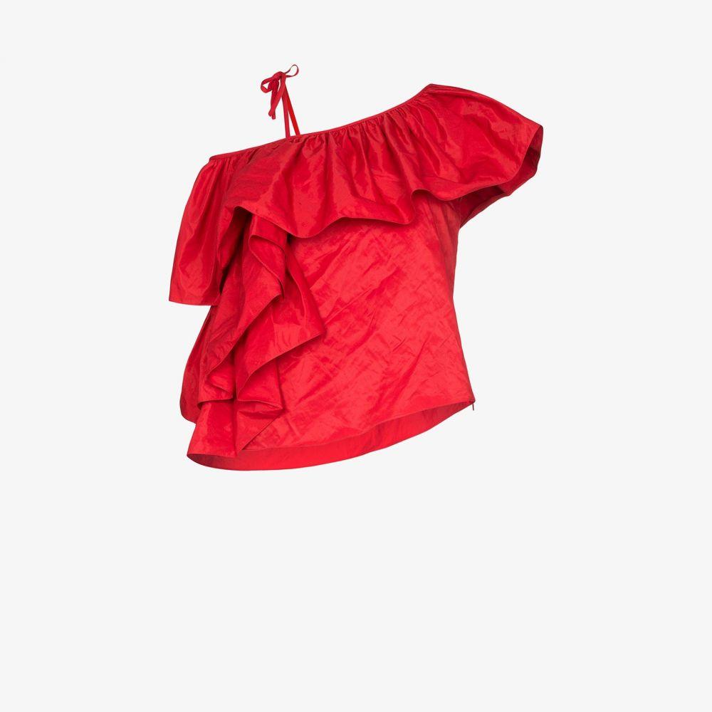 マルケス アルメイダ Marques'Almeida レディース トップス 【Ruffled one shoulder top】red