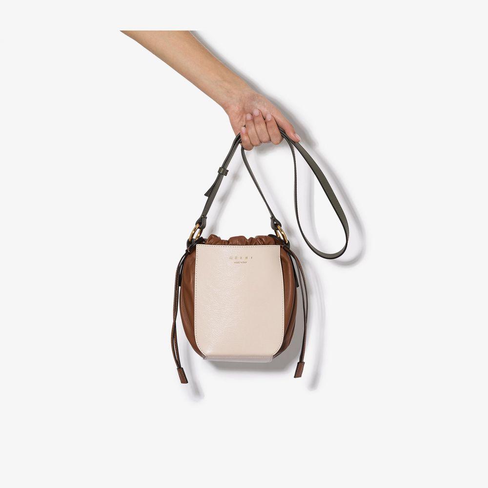 マルニ Marni レディース ショルダーバッグ バッグ【white and brown drawstring leather shoulder bag】white