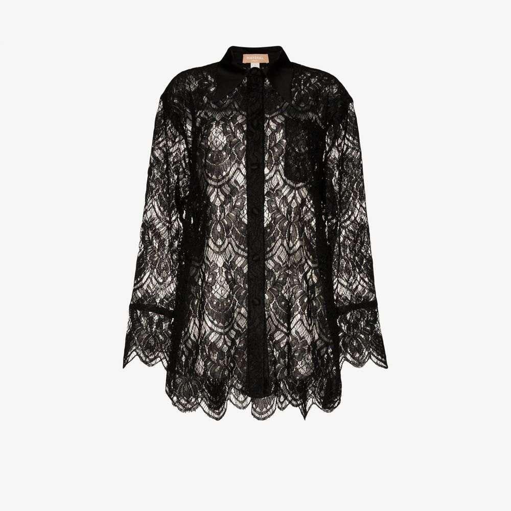 マテリエル Materiel レディース ブラウス・シャツ トップス【floral lace silk shirt】black