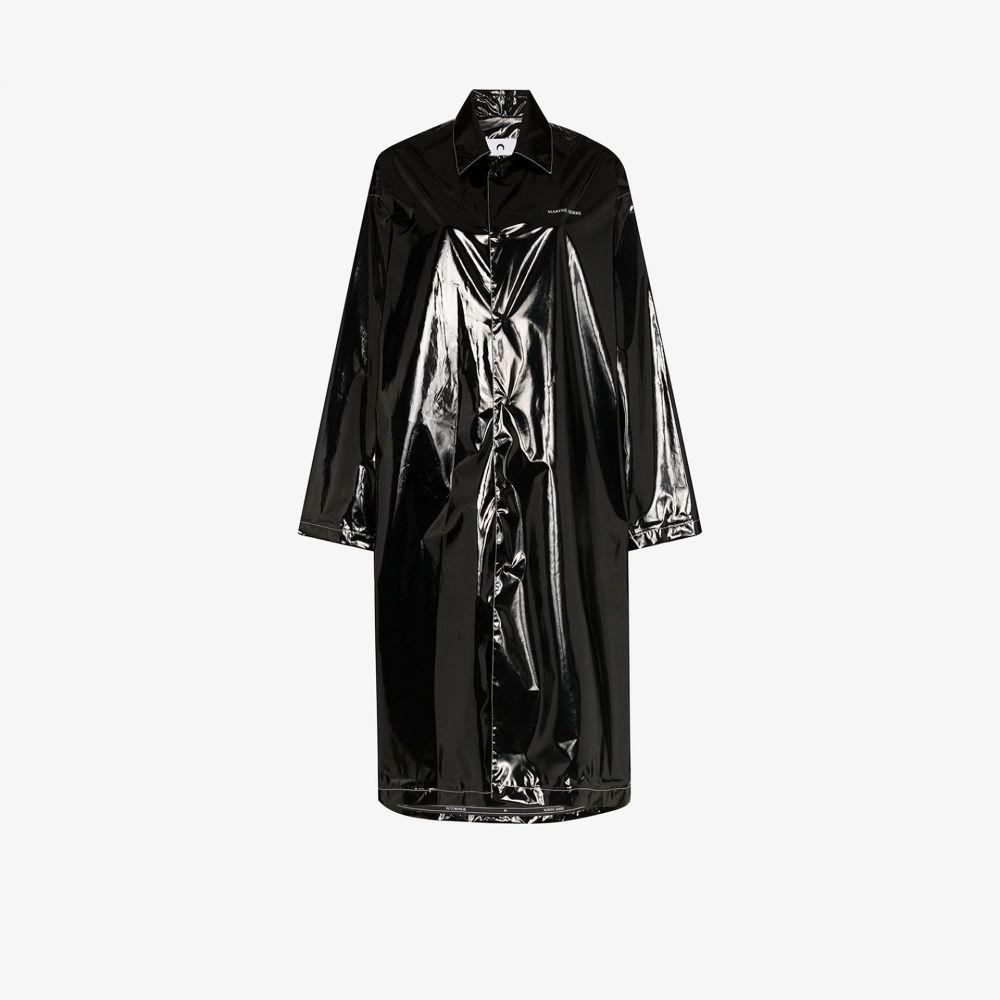 マリーン セル Marine Serre レディース レインコート アウター【Maree Noire patent raincoat】black