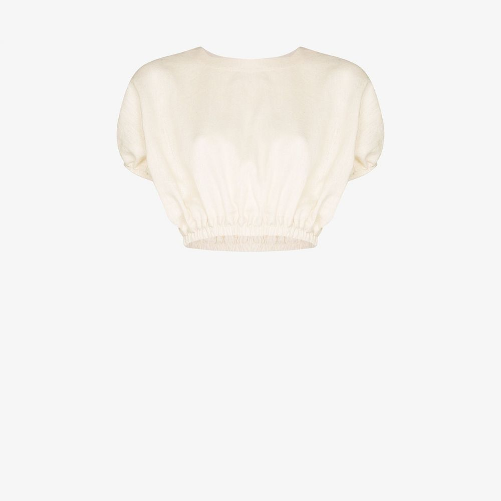 マトー Matteau レディース ビーチウェア トップス 水着・ビーチウェア【Linen pouf sleeve crop top】white