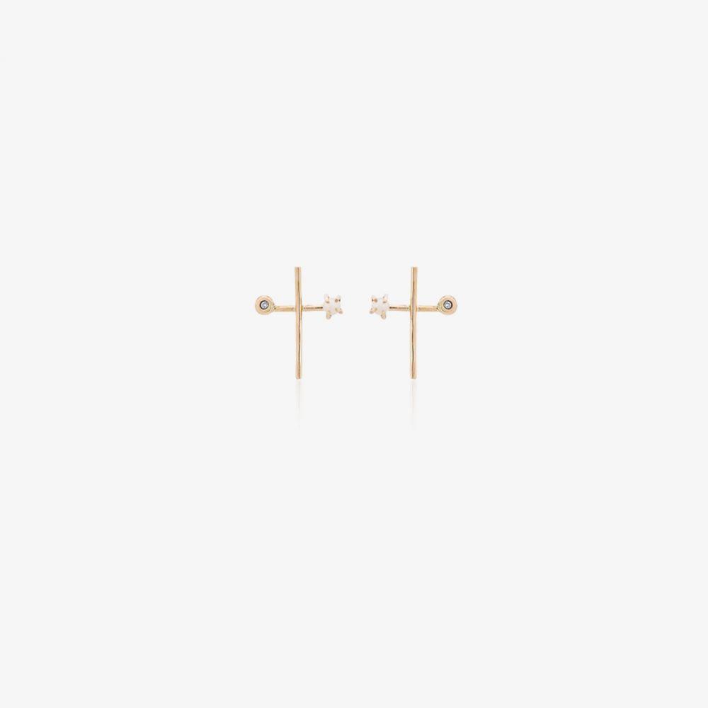 メリッサ ジェイ マニング Melissa Joy Manning レディース イヤリング・ピアス ジュエリー・アクセサリー【diamond and pearl cross earrings】metallic