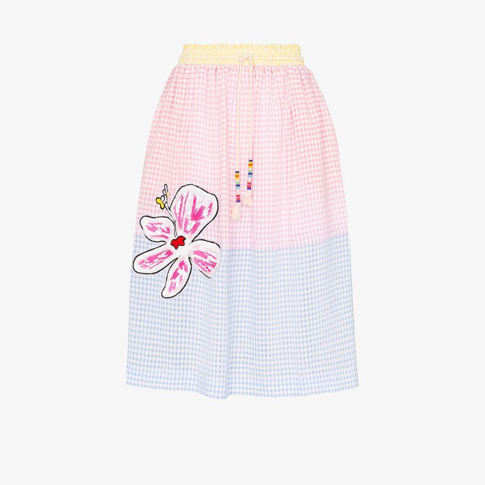ミラミカティ Mira Mikati レディース スカート 【gingham flower patch skirt】blue