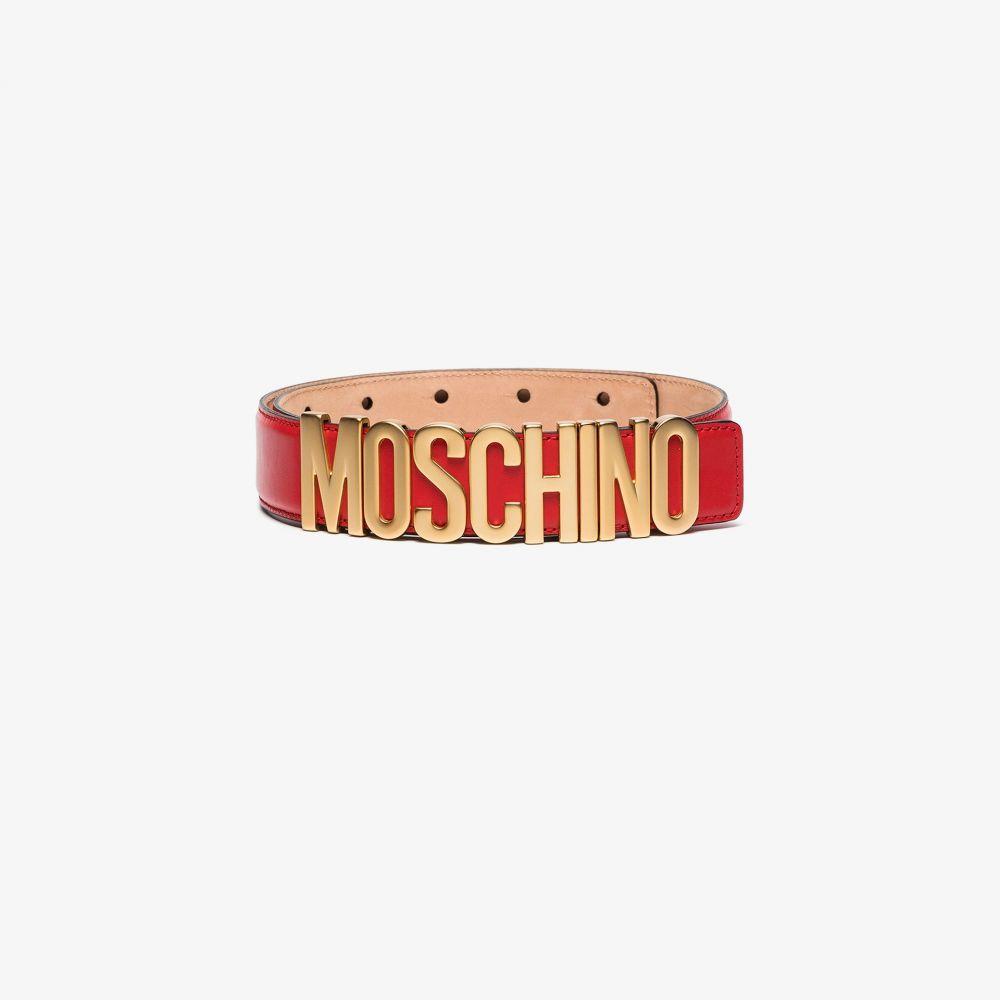モスキーノ Moschino レディース ベルト 【red logo leather belt】red