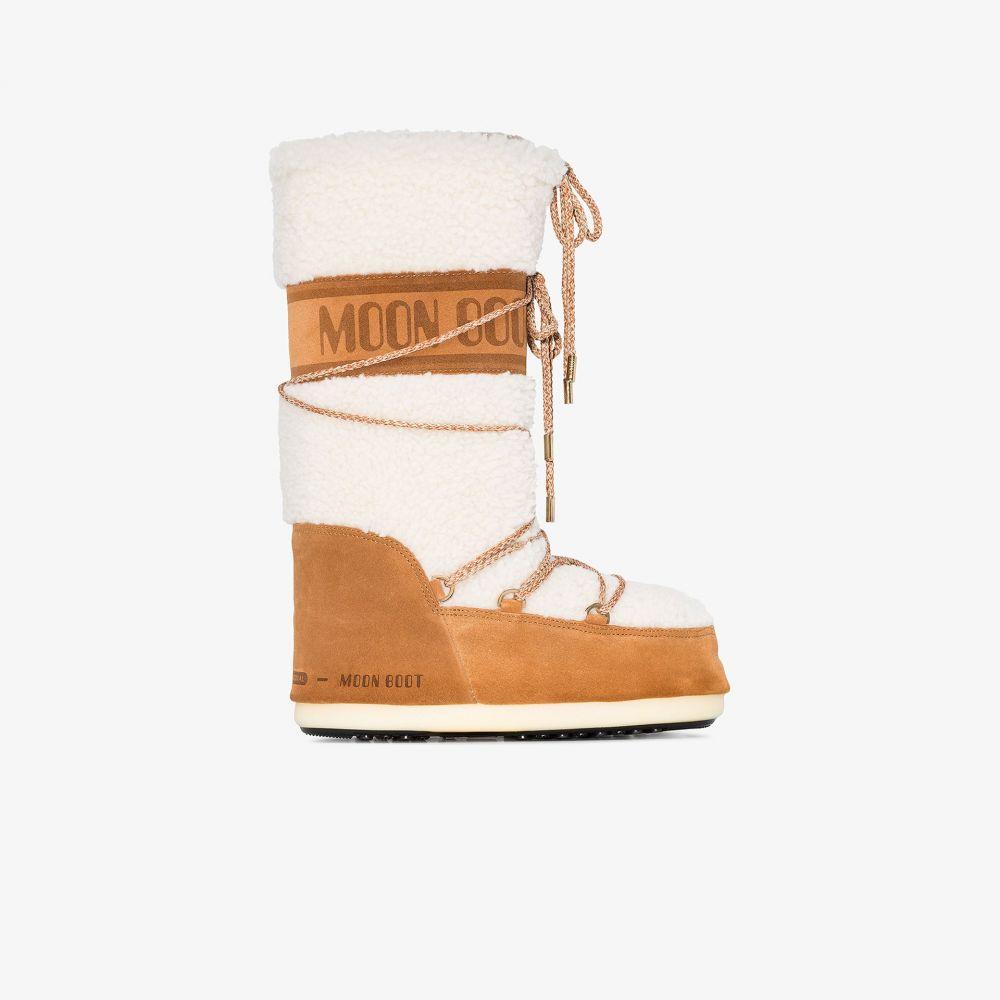 ムーンブーツ Moon Boot レディース ブーツ シアリング スノーブーツ シューズ・靴【white and brown shearling snow boots】brown