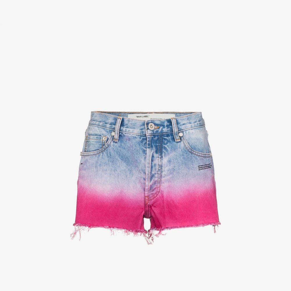 オフホワイト Off-White レディース ショートパンツ ボトムス・パンツ【dip-dyed raw hem shorts】blue