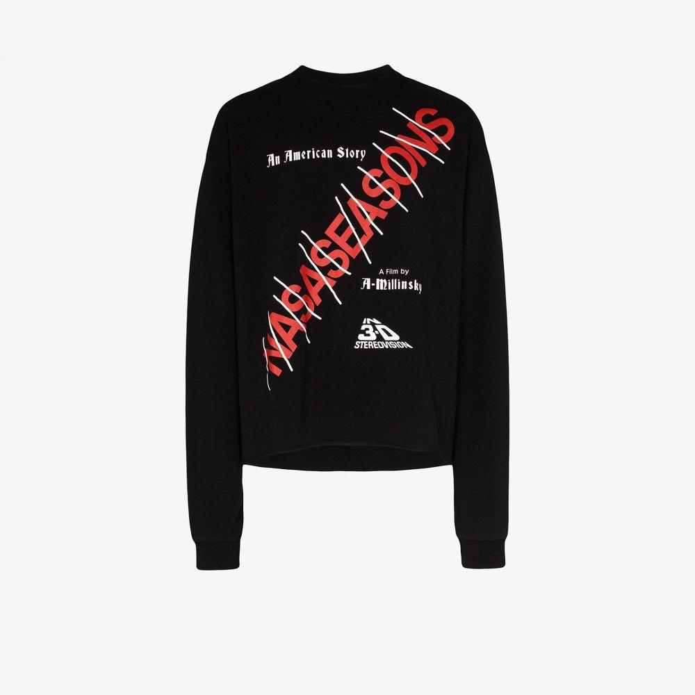 ナサシーズンズ Nasaseasons メンズ Tシャツ トップス【American Story printed cotton T-shirt】black