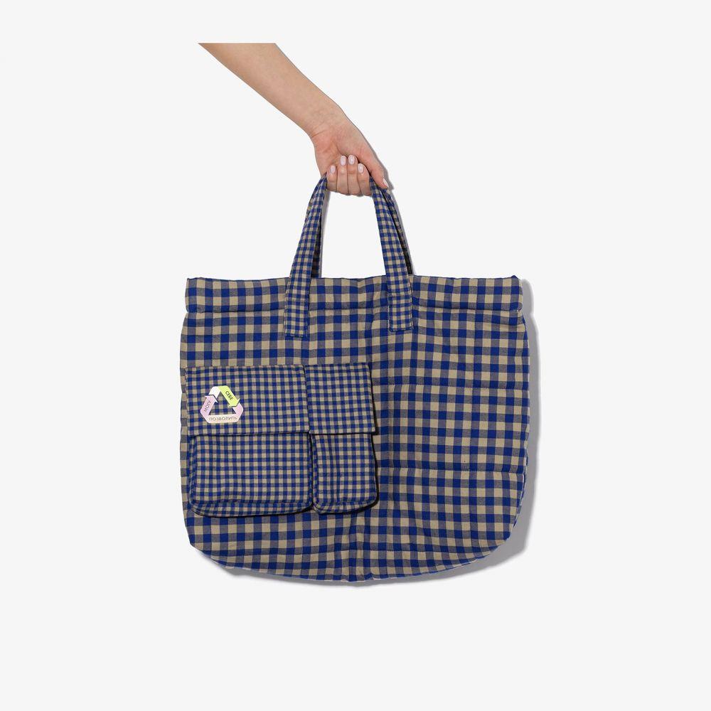 ナターシャ ジンコ Natasha Zinko レディース トートバッグ バッグ【Blue and beige check print tote bag】blue