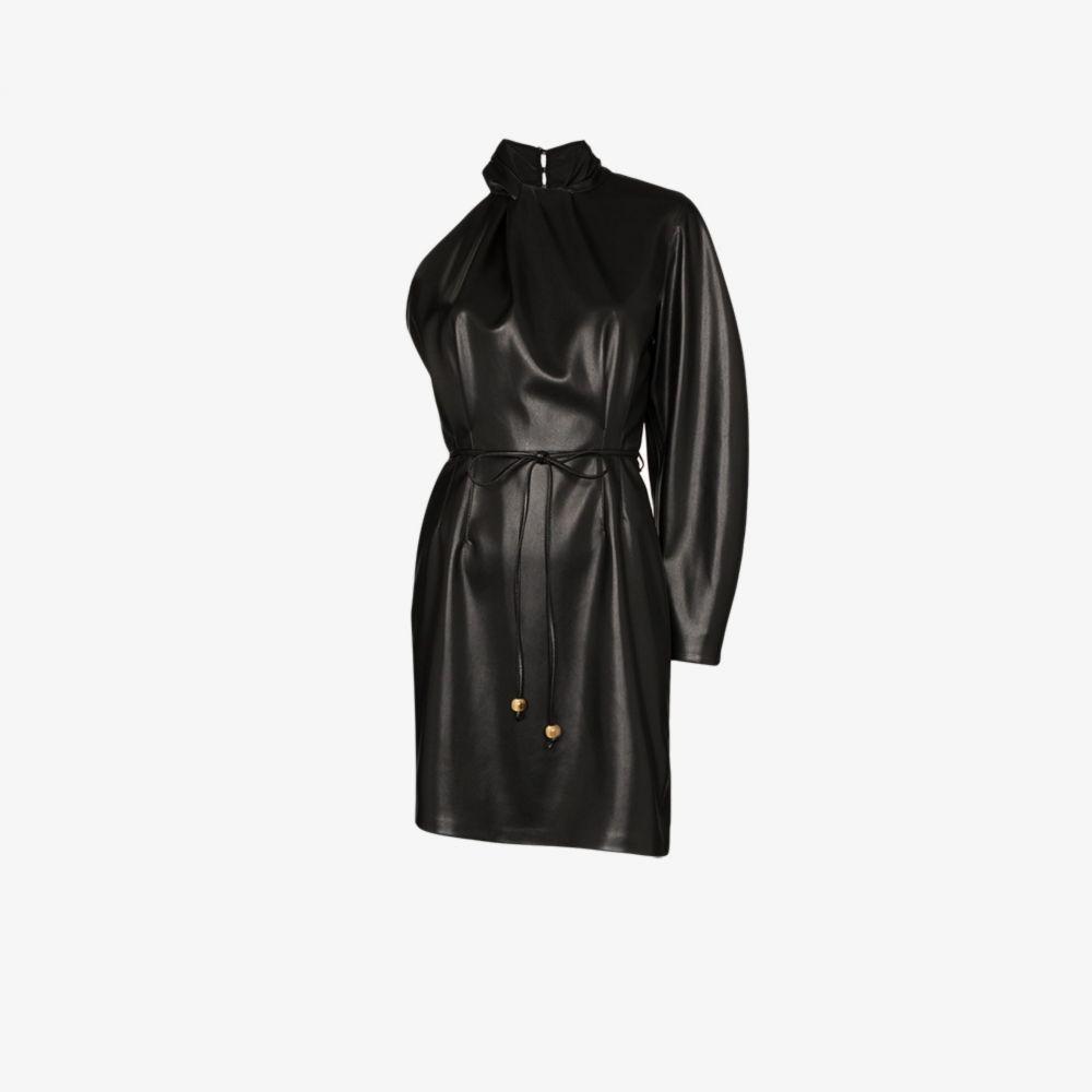 ナヌシュカ Nanushka レディース パーティードレス ワンピース・ドレス【ida vegan leather one shoulder dress】black