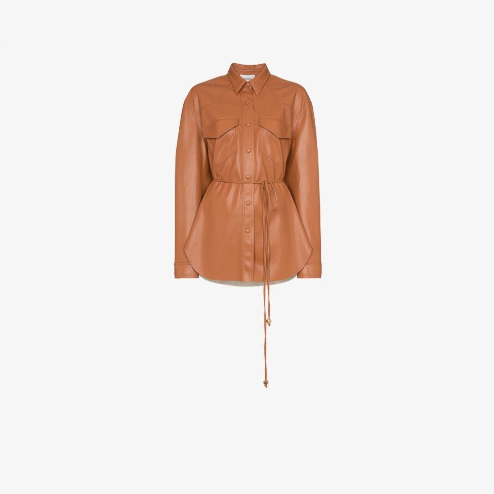ナヌシュカ Nanushka レディース レザージャケット シャツジャケット アウター【Eddy vegan leather shirt jacket】orange