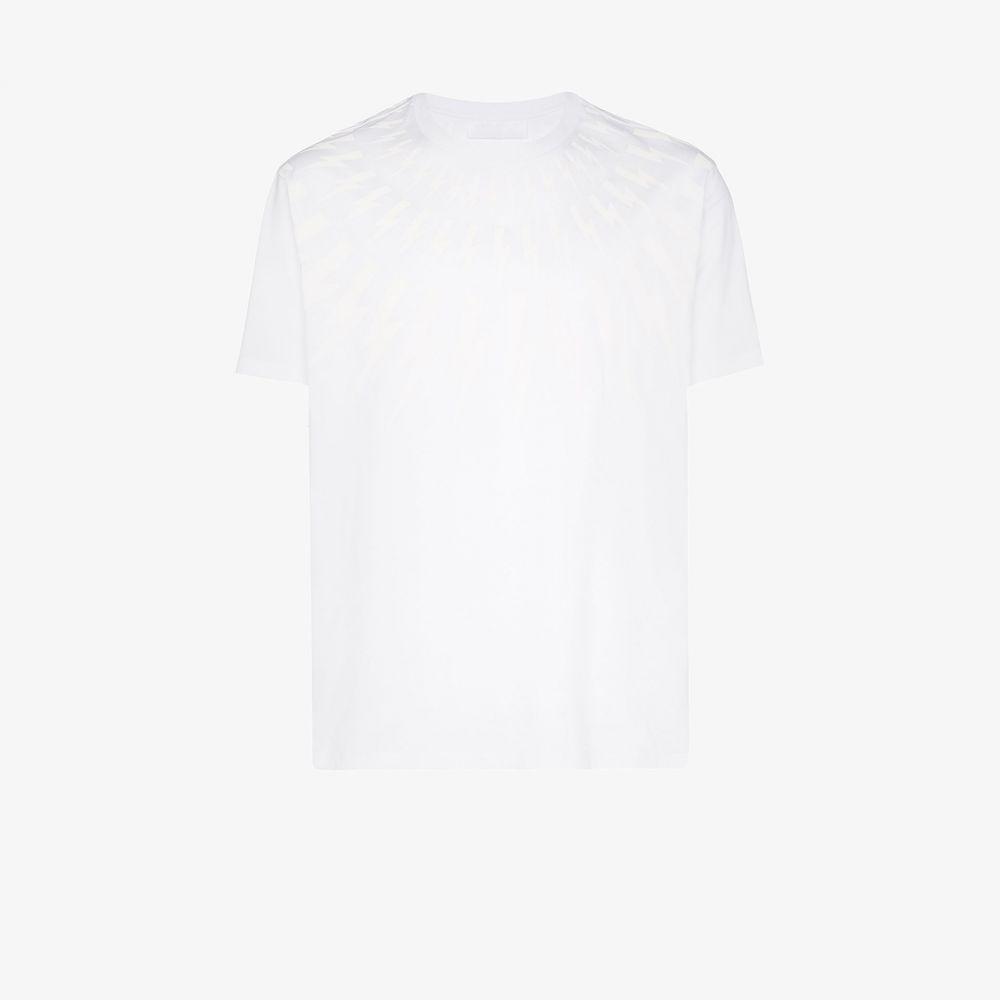 ニール バレット Neil Barrett メンズ Tシャツ トップス【tonal bolt print T-shirt】white