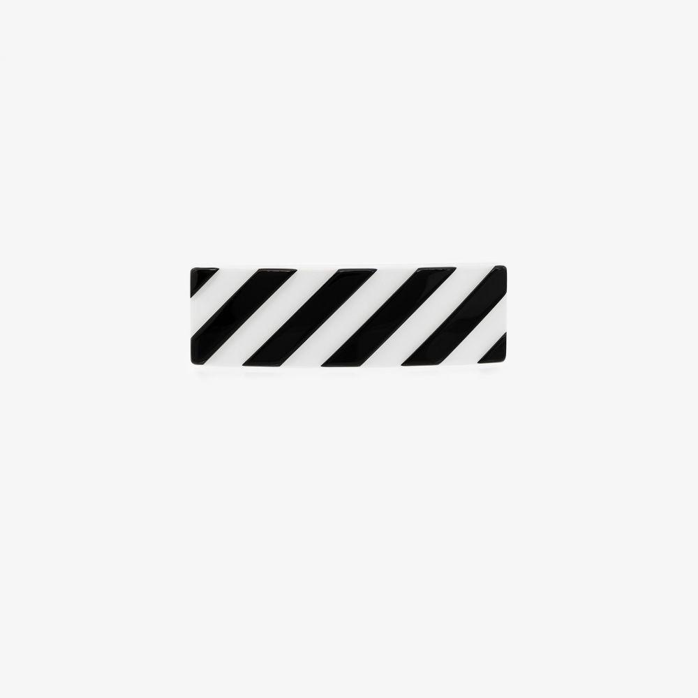オフホワイト Off-White レディース ヘアアクセサリー ヘアクリップ【black and white striped hair clip】black