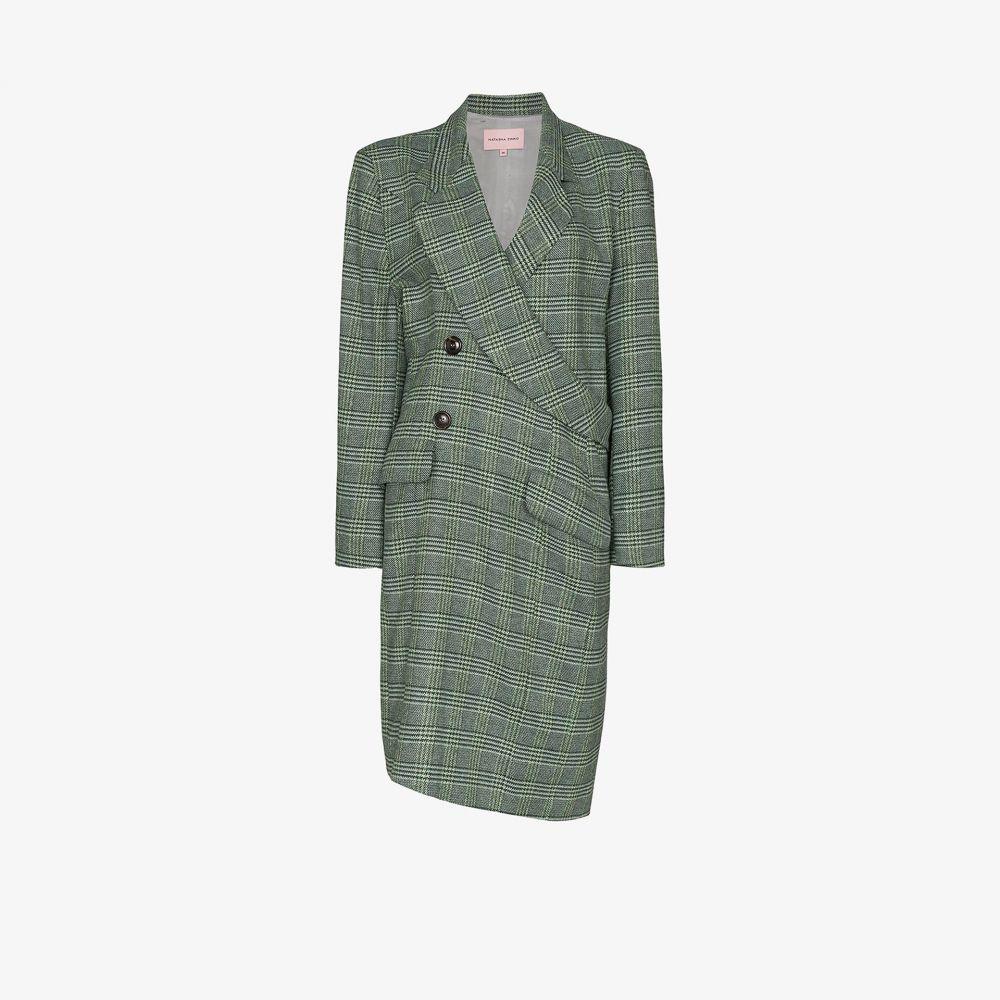 ナターシャ ジンコ Natasha Zinko レディース コート ダブルブレストコート ラップコート アウター【check wrap double-breasted coat】green