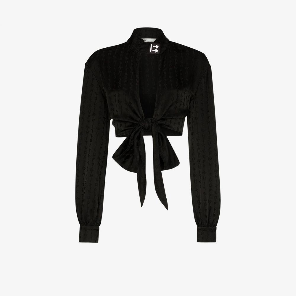 オフホワイト Off-White レディース ブラウス・シャツ トップス【logo tie front blouse】black