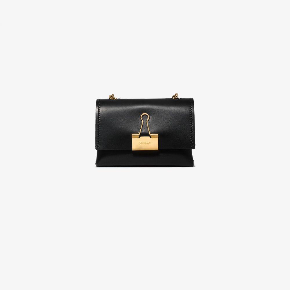 オフホワイト Off-White レディース ショルダーバッグ バッグ【black Soft small binder clip leather shoulder bag】black