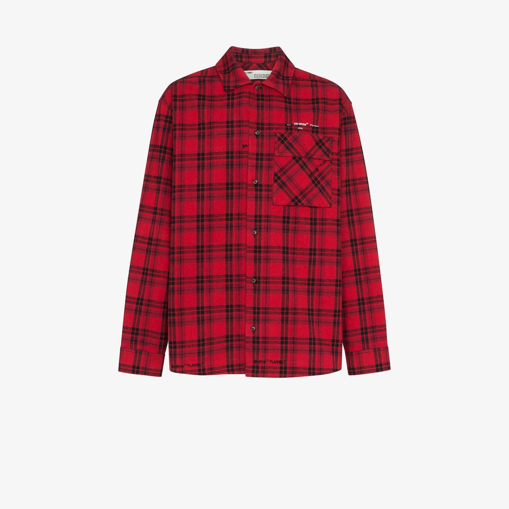 オフホワイト Off-White メンズ シャツ フランネルシャツ トップス【arrow checked flannel shirt】red