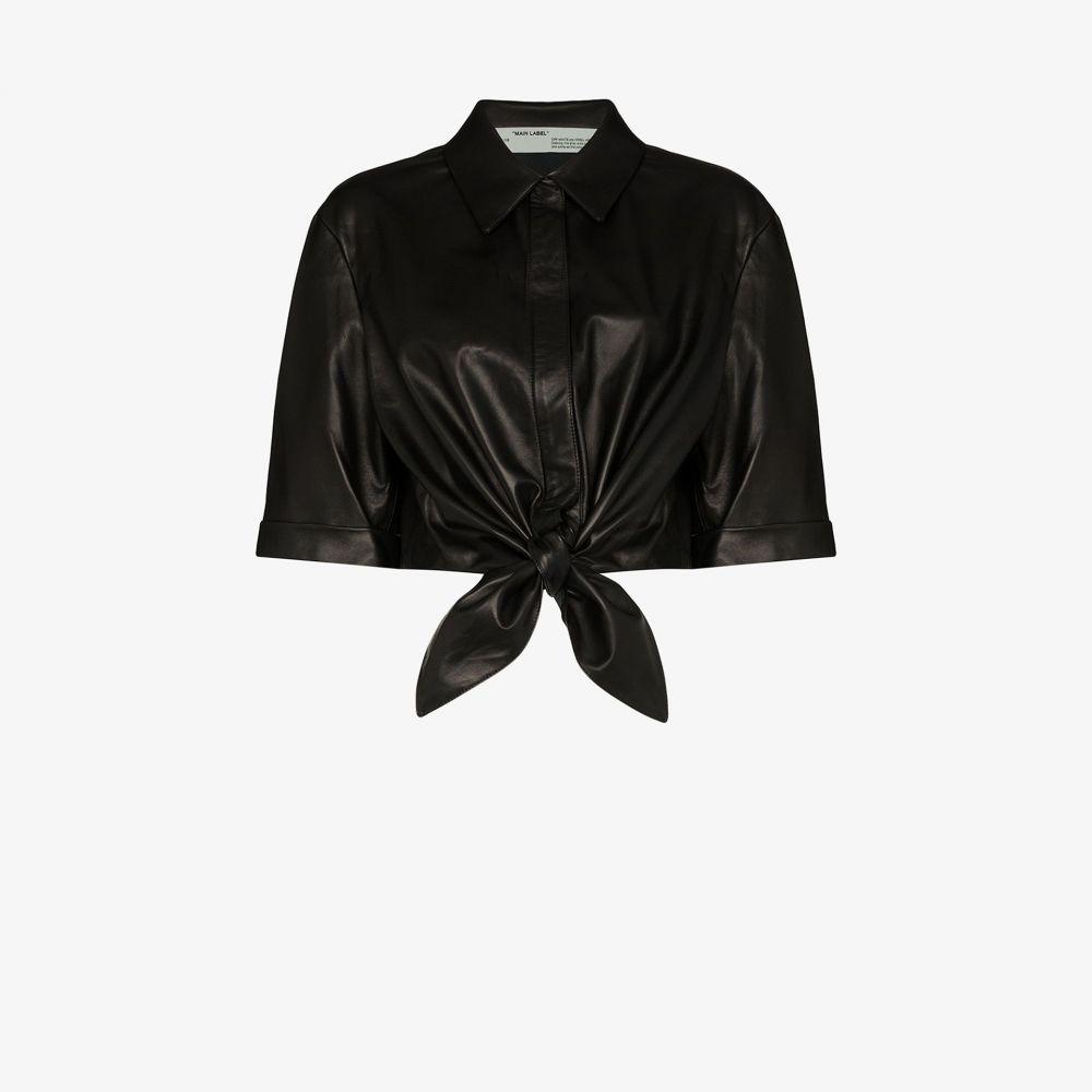 オフホワイト Off-White レディース ベアトップ・チューブトップ・クロップド トップス【cropped tied leather shirt】black