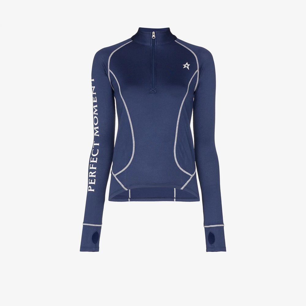 パーフェクト モーメント Perfect Moment レディース ニット・セーター トップス【knitted half zip thermal top】blue